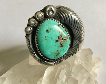 vintage sterling and turquoise southwestern ring, size 7