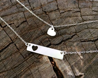 Silver Bar Necklace, Mother Daughter Necklace Set, Heart Necklace Set, Mini and Me Jewelry, Mom Jewelry, Mom Necklace, Gift for Mom