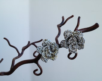 Vintage Jose and Maria Barrera (Neiman Marcus) Crystal Rosette Clip Earring