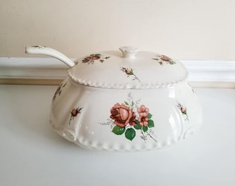 Vintage Soup Tureen With Ladle,  English Rose Soup Tureen, Large Tureen, White Soup Tureen, Cottage Chic, Shabby, Victorian, 1940s