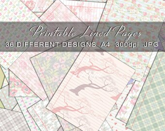 Notebook Paper, Digital Notebook Paper, Lined Paper, Ruled Notebook Paper, Colored Notebook Paper, Wide Ruled Paper, Journal printable pages