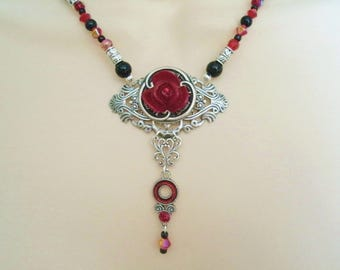 Rose Necklace, victorian jewelry gothic jewelry art nouveau jewelry art deco jewelry renaissance necklace edwardian neo victorian necklace