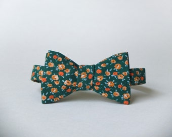 Green & Gold Floral Bow Tie || 100% Vintage Cotton