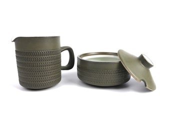 Vintage Mid Century Modern Denby Pottery Camelot Chevron Creamer and Sugar Bowl Set, Made in England Stoneware, Olive Green