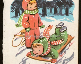 Children Antique Bookplate Boy and Girl Playing in the Snow art print illustrated 1950s wall art vintage