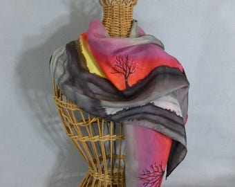 "Silk Scarf ""Sunset Trees"", Hand Painted Silk Scarf"