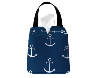 Auto Sneeze Box - Anchors - Navy White - or PICK YOUR COLOR - Car Accessory Automobile Caddy Tissue Case Nautical