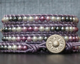 wrap bracelet- purple lavender silver grey gray ombre glass pearls on lavender leather