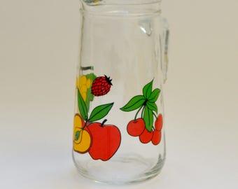 Vintage Italian Glass Juice Jug with Fruit Designs