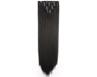 """24"""" Straight Full Head Clip in Synthetic Hair Extensions 7pcs 140g 4#-Dark Brown"""