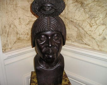 Vintage African Ritual Wood Carved Head/Bust Tribal Chief,Witch Doctor/Holy Man.Ethnic Sculpture.Fab.Signed