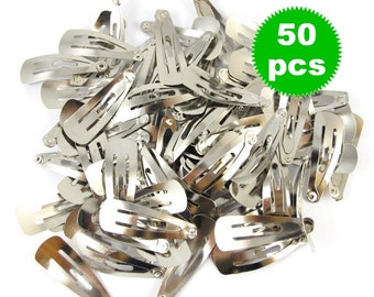 Round Snap Clips in Silver Tone - 30mm - 50 pieces SC001
