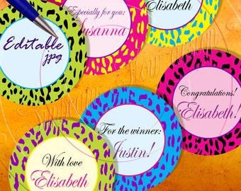 "INSTANT DOWNLOAD - 3"" Circles Editable 20 Extreme Animal Skin Bottlecap Hairbow Magnets Envelope Packaging Packing Decoration pyo DIY"