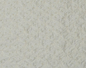 "Ivory Shantung Dupioni Bridal Embroidery with Beads 100% Silk Fabric, 44"" Wide, By The Yard (EB-909B)"