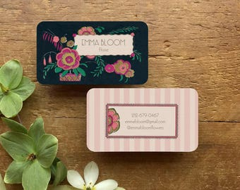 Unique Business Card Design, Floral Business Card, Business Card, Calling Cards, Art Deco Design, Personalized Business Cards, 1930s Floral