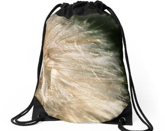 Backpack - Shoulder Bag w/Drawstring Closure / 'Goat's Beard' ~ Featuring Feathery Seed Head Design / Sophisticated, Classy Functional Art