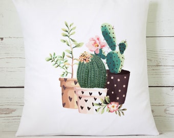 "Pretty Cactus collection  - 16"" Cushion Pillow Cover Retro Shabby Vintage Chic - UK Handmade"
