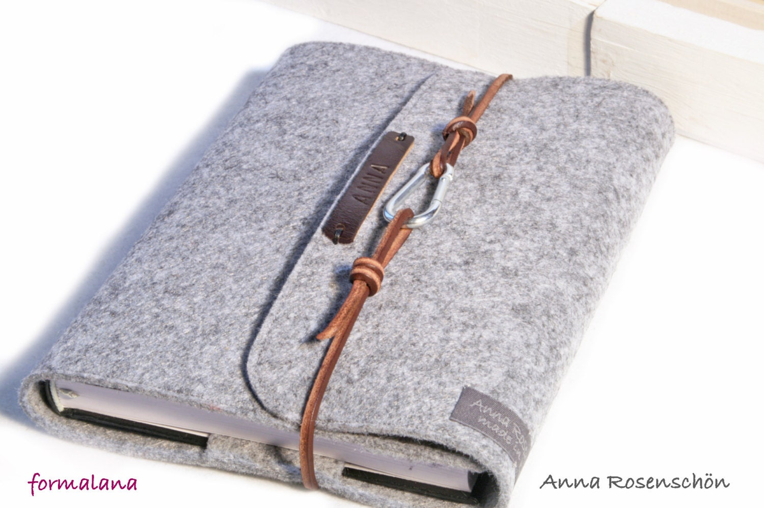 personalized calendar sleeve case grey with embossed name letters ...