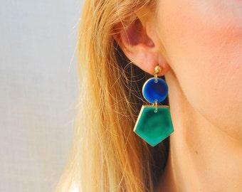 Green Earrings, Porcelain Earrings, Large Statement Earrings, Big Earrings, Stude Large, Gift Ideas