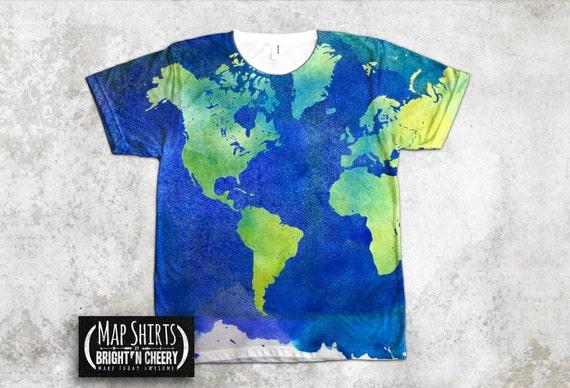 Watercolor world map t shirt all over print shirt art gumiabroncs Images