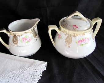 Nippon  Creamer and Sugar / Hand Painted Moriage Creamer and Sugar from 1920's