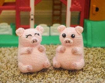 Crochet Stuffed Pig Pudgy Pals Pattern (PDF FILE)