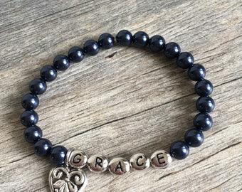 Personalized Name Bracelet girls, Flower Girl Bracelet, Pearl Bracelet, Flower Girl Jewelry, Little Girl Bracelet, Kids Jewelry, Kids Gift