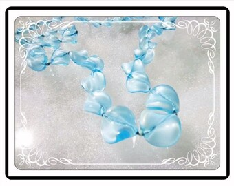 Art Glass Turquoise Necklace - Turquoise BlueTwisted Glass Beads - Beaded Single Strand Opera Length - Neck-2022a-092415000