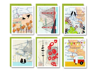 Bay Area Box Card Set / San Francisco Blank Note Card Set of 6 Art Cards