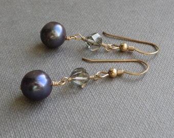 Purple Black Pearls Crystal Gold Dangle Earrings