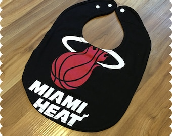 Miami Heat Basketball Baby Bib, Recycled T-Shirt Baby Bib, Sports Baby Boy Gift, Baby Shower Gift