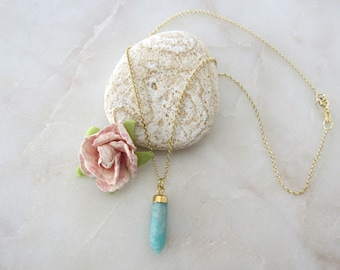 Natural Amazonite Stone Spike Necklace 18k Gold