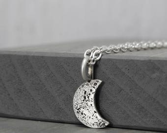 Half Moon Necklace, Lunar Necklace, New Moon Necklace, Lunar Jewelry, Solar Jewelry, Moon Jewelry, Galaxy Necklace, Sterling Silver Moon