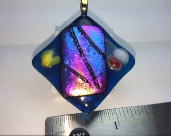Blue, striped rainbow dichroic glass pendant