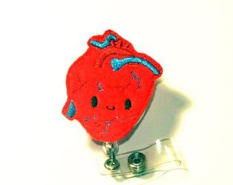 Heart Felt Nurse Badge Reel   Cardiologist   Cardiac   Planner Clip   Nurse Gift   Badge Clip   Cute Badge   ID Holder   Feltie  Retractable