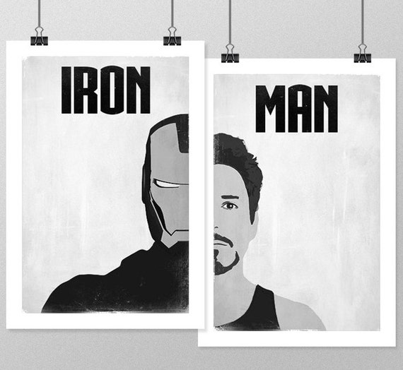 Iron man poster set avengers minimalist posters black and