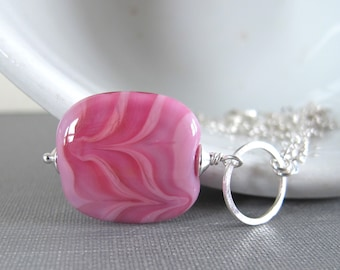 Pink Glass Necklace, Hot Pink Glass, Pale Pink Glass, Silver Necklace, Pink Swirled Glass, Silver Chain, Silver Jewelry, Lampwork Glass