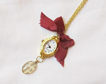 Jane Austen Gift Watch Necklace - Jewellery Jewelry Pride and Prejudice Mr Darcy - Ribbon Bow Burgundy Gold Time Piece For Women Handmade