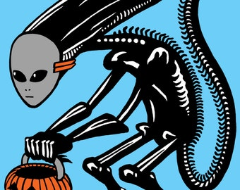 Trick Or Treat Alien Screen Printed Poster