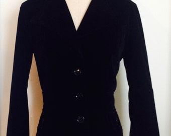1970s Rich Black Velvet Fitted Blazer/Jacket