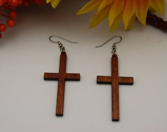 Wooden cross earrings, Cross earrings, Dangle cross earrings,