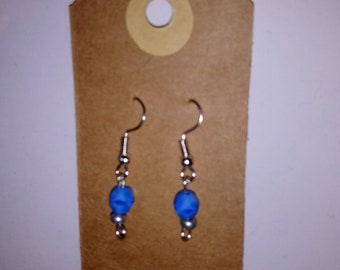 Earrings Blue beaded sterling silver