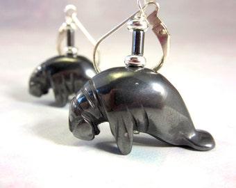 Manatee earrings - Carved Stone Earrings - hematite black Drop Earrings - manatee Jewelry - Artisan Jewelry - Gift for Animal Lovers