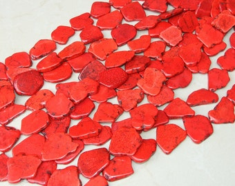 Red Magnesite Slab Stone Beads - Bright Red with Black Veining - Magnesite Slab Strand -  Full Strand - 30mm x 40mm