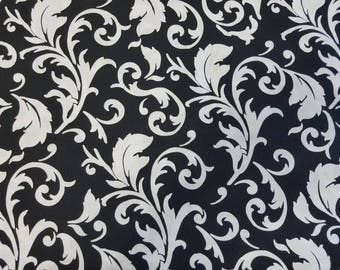 Black & White Scroll Cotton Fabric (1 yard 16 inches)
