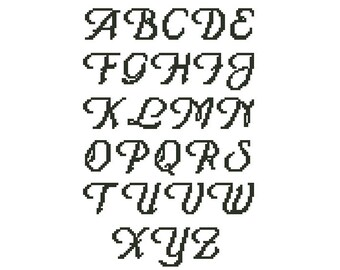Cross stitch alphabet pattern, embroidery pattern, 16 stitches tall, Capital letters only, Pdf - PATTERN ONLY (Alph_16co)
