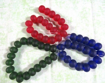 Cultured Sea Glass Rondelle Beads 14x10mm (B437a)