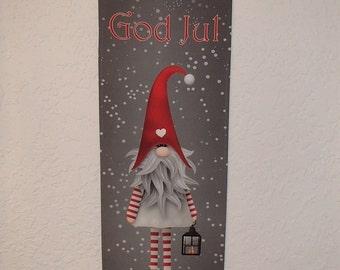 Scandinavian Swedish Norwegian Danish God Jul Gnome Tomte Wall Hanging #DCAL803