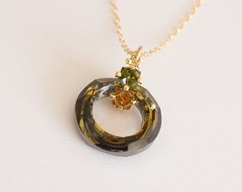14K Gold Filled Chain Necklace with Swarovski Crystal Ring in Green Brown. Sparkling Pendant with Beaded Bail in Olive Green and Topaz S212