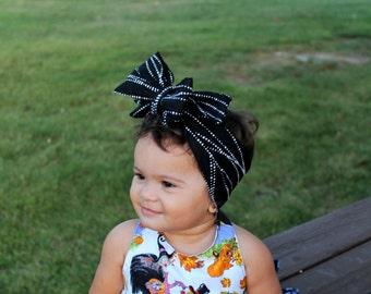 Baby head wrap, Baby Girl headband, black and white head wrap, Baby girl bow, newborn bow,fall head wrap ,baby bow, baby fall hair accessory